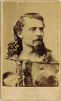 """Photography:CDVs, EARLY Wm. F. CODY """"BUFFALO BILL"""" PORTRAIT - CARTE DE VISITE - ca. 1880. This is a great early souvenir portrait of Willi... (Total: 1 Item)"""