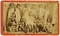 Photography:Studio Portraits, SHOSHONE WARRIORS AND U.S. CAVALRY OFFICER. Interesting group shot of nine Shoshone warriors accompanied by a Cavalry office... (Total: 1 Item)