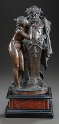 Sculpture, A CONTINENTAL PATINATED BRONZE STATUE OF A FEMALE NUDE OFFERING WATER TO A HYBRID MALE. 20th century. Marks: A. Sommer. ...