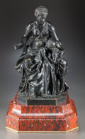 Sculpture, A BRONZE FIGURAL GROUP OF A SEATED WOMAN AND TWO CHILDREN ON A RED MARBLE BASE, AFTER HENRY ÉTIENNE DUMAIGE. (French, 1830-1...