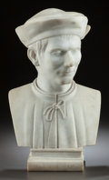 Marble, A MARBLE BUST OF NICCOLÒ MACHIAVELLI. 20th century. Marks: DELPRINCIPE, MACHIAVELLI. 24 inches high (61.0 cm). ...