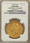 Liberty Double Eagles, 1850 $20 -- Improperly Cleaned -- NGC Details. AU. NGC Census:(160/599). PCGS Population (135/267). Mintage: 1,170,261. Nu...