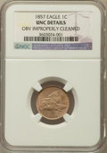 Flying Eagle Cents, 1857 1C -- Obverse Improperly Cleaned -- NGC Details. Unc. NGCCensus: (14/2067). PCGS Population (40/2410). Mintage: 17,45...