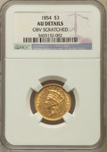 Three Dollar Gold Pieces, 1854 $3 -- Obverse Scratched -- NGC Details. AU. NGC Census:(188/3174). PCGS Population (335/2162). Mintage: 138,618. Numi...
