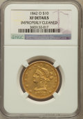 Liberty Eagles, 1842-O $10 -- Improperly Cleaned -- NGC Details. XF. NGC Census:(28/184). PCGS Population (19/73). Mintage: 27,400. Numism...