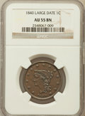 Large Cents: , 1840 1C Large Date AU55 NGC. NGC Census: (9/158). PCGS Population(9/67). Mintage: 2,462,700. Numismedia Wsl. Price for pro...
