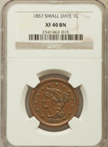 Large Cents: , 1857 1C Small Date XF40 NGC. PCGS Population (22/177). ...