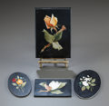 Paintings, A GROUP OF FOUR FLORAL PIETRE DURE PLAQUES. 20th century. 6 inches high x 4 inches wide (15.2 x 10.2 cm) (largest). ... (Total: 5 Items)
