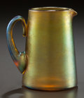 Art Glass:Tiffany , A TIFFANY STUDIOS FAVRILE GLASS PITCHER. Circa 1900. Marks:L.C.T. Favrile. 3-1/4 inches high x 2-1/2 inches wide (8.3x...