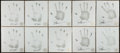 Football Collectibles:Others, Frank Gifford and Joe Theisman Signed Original Handprints Lot of 10. ...