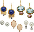 Estate Jewelry:Earrings, A GROUP OF MULTI-STONE, GOLD, GILT METAL EARRINGS. The lot includesa pair of screw back earrings, one set with a cultured p... (Total:5 Items)