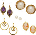 Jewelry, A GROUP OF MULTI-STONE, SILVER, GOLD EARRINGS. The lot includes a pair of earrings featuring amethyst cabochons, in 14k gold... (Total: 5 Items)