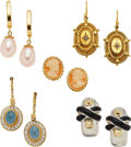 Estate Jewelry:Earrings, FIVE PAIRS OF DIAMOND, MULTI-STONE, CULTURED PEARL, ENAMEL, GOLD,SILVER EARRINGS. The lot includes a pair of earrings featu...(Total: 5 Items)