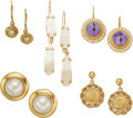 Estate Jewelry:Earrings, A GROUP OF DIAMOND, MULTI-STONE, GOLD COIN, GOLD EARRINGS. The lotincludes a pair of earrings featuring full-cut diamonds w...(Total: 5 Items)