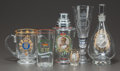 Paintings, SIX EDWARD VIII COMMEMORATIVE GLASS OBJECTS. Dated 1937. 10-1/4 inches high (26.0 cm) (decanter). ... (Total: 6 Items)