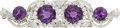 Estate Jewelry:Brooches - Pins, Art Deco Amethyst, Diamond, Platinum Double-Clip-Brooch. ...