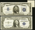 Error Notes:Foldovers, Fr. 1614 $1 1935E Silver Certificate. Choice CU. Fr. 1654 $5 1934DSilver Certificate. VF-XF.. ... (Total: 2 notes)