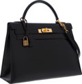 Luxury Accessories:Bags, Hermes 32cm Black Calf Box Leather Sellier Kelly Bag with GoldHardware. ...