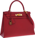 Luxury Accessories:Bags, Hermes 28cm Rouge Vif Courchevel Leather Sellier Kelly Bag withGold Hardware. ...