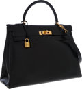 Luxury Accessories:Bags, Hermes 35cm Black Calf Box Leather Retourne Kelly Bag with GoldHardware. ...