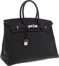 Luxury Accessories:Bags, Hermes 35cm Black Togo Leather Birkin Bag with Palladium Hardware....