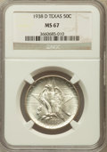 Commemorative Silver: , 1938-D 50C Texas MS67 NGC. NGC Census: (91/3). PCGS Population(78/1). Mintage: 3,775. Numismedia Wsl. Price for problem fr...