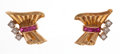 Estate Jewelry:Earrings, Synthetic Ruby, Diamond, Gold Earrings. ...
