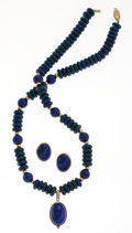Estate Jewelry:Suites, Lapis Lazuli, Malachite, Gold Jewelry Suite. ...