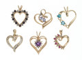 Estate Jewelry:Pendants and Lockets, Multi-Stone Gold Pendants. ... (Total: 6 Items)