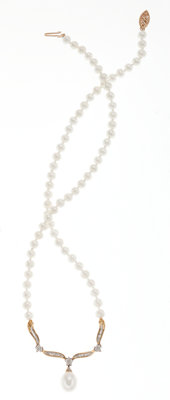 Cultured Pearl, Diamond, Gold Necklace