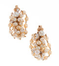 Estate Jewelry:Earrings, Cultured Pearl, Diamond Gold Earrings. ...