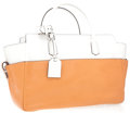 Luxury Accessories:Bags, Reed Krakoff White and Tan Colorblock Tote Bag with Top Handles....