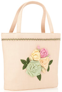 Moschino Beige Woven Fabric Bag with Floral Detail and Top Handles