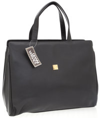 Versace Black Leather Tote with Top Handles and Versace Logo