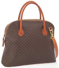 Celine Brown Monogram Canvas Top Handle Bag with Shoulder Strap