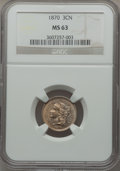 Three Cent Nickels: , 1870 3CN MS63 NGC. NGC Census: (83/194). PCGS Population (85/175).Mintage: 1,335,000. Numismedia Wsl. Price for problem fr...