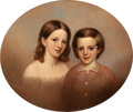 American:Portrait & Genre, MANNEVILLETTE ELIHU DEARING BROWN (American, 1810-1896). Siblings, 1850. Oil on canvas. 24 x 28 inches (61.0 x 71.1 cm)...