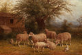 American, GEORGE RIECKE (American, 1848-1930). Barnyard with Sheep.Oil on canvas. 16 x 24 inches (40.6 x 61.0 cm). Signed lower l...