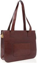 Luxury Accessories:Bags, Celine Brown Crocodile Stamped Leather Tote Bag with Gold CrocodileZipper Pull. ...