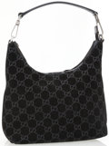 Luxury Accessories:Bags, Gucci Black Suede GG Monogram Shoulder Bag with Gunmetal Hardware. ...