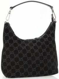 Gucci Black Suede GG Monogram Shoulder Bag with Gunmetal Hardware