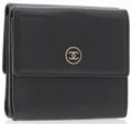 Luxury Accessories:Accessories, Chanel Black Leather Double Flap Wallet with Black Enamel CC Logo....