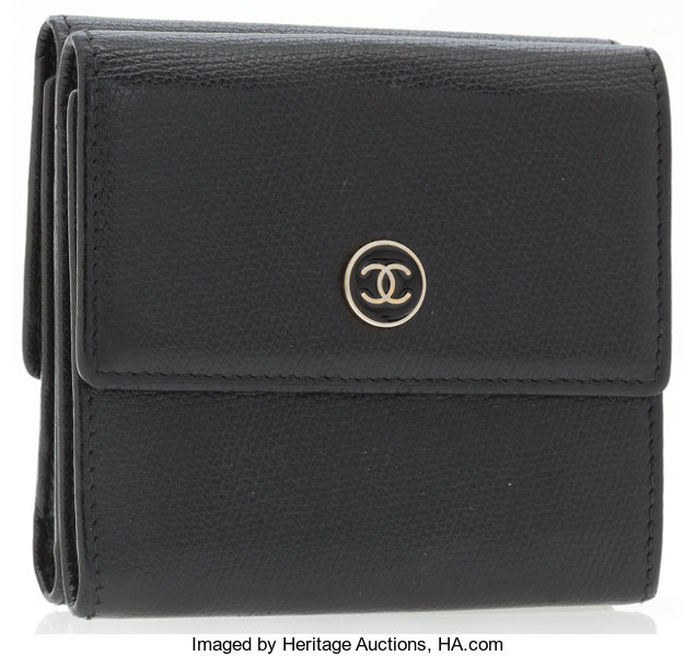 d772ae5161c7 ... Luxury Accessories:Accessories, Chanel Black Leather Double Flap Wallet  with Black Enamel CC Logo ...