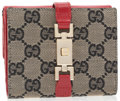Luxury Accessories:Accessories, Gucci Red Leather and Classic Monogram Canvas Bifold Wallet withGold Hardware. ...