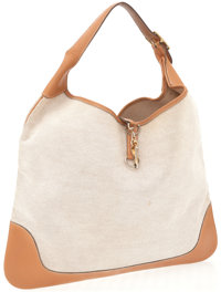 Hermes 42cm Vache Naturale and Toile Trim Bag with Gold Hardware
