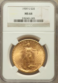 Saint-Gaudens Double Eagles: , 1909-S $20 MS64 NGC. NGC Census: (1355/232). PCGS Population(1831/313). Mintage: 2,774,925. Numismedia Wsl. Price for prob...