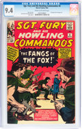 Silver Age (1956-1969):War, Sgt. Fury and His Howling Commandos #6 (Marvel, 1964) CGC NM 9.4 Cream to off-white pages....