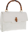 Luxury Accessories:Bags, Gucci White Crocodile Flap Bag with Bamboo Top Handle . ...