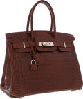 Luxury Accessories:Bags, Hermes 30cm Shiny Miel Nilo Crocodile Birkin Bag with Palladium Hardware. ...
