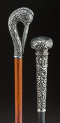 Decorative Arts, Continental:Other , A SILVER AND WOOD SWAN CANE TOGETHER WITH A SILVER AND WOOD KNOBCANE . Maker unknown, circa 1900 (swan cane). Marks: STER...(Total: 2 Items)